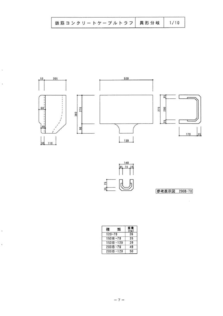 関西コンクリート|ケーブルトラフ  異形・異形分岐 外形寸法 1