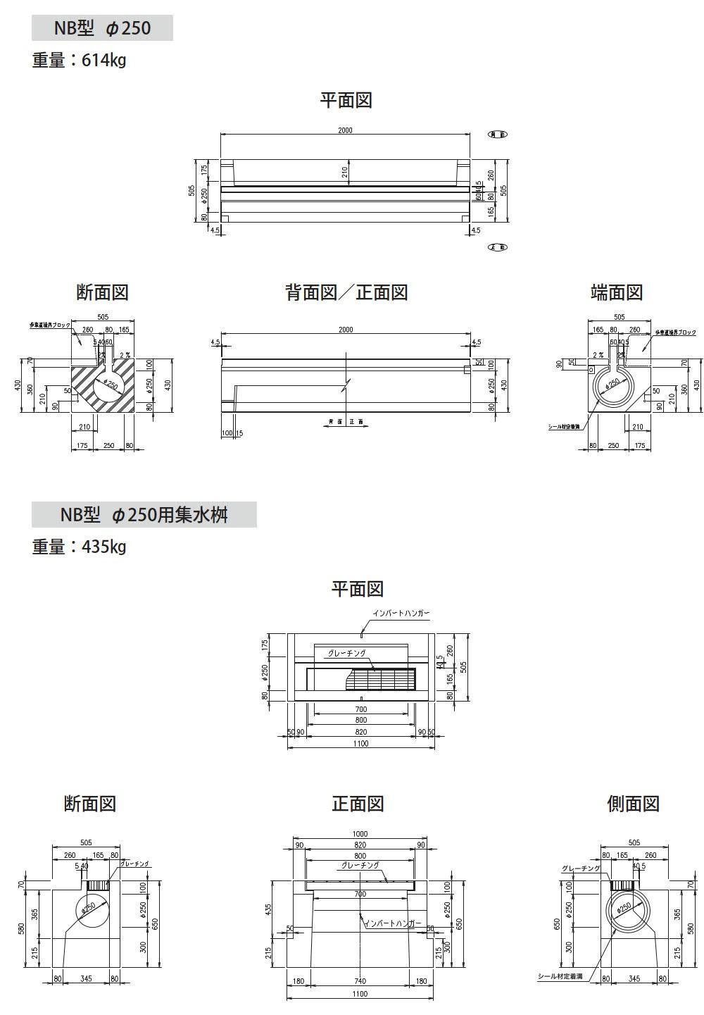 オリジナル側溝|円形水路 NB型 外形寸法 2