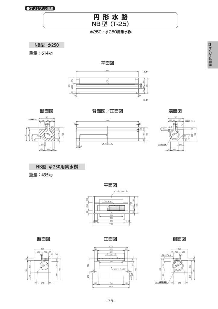 オリジナル側溝 円形水路 NB型・NC型 外形寸法 2